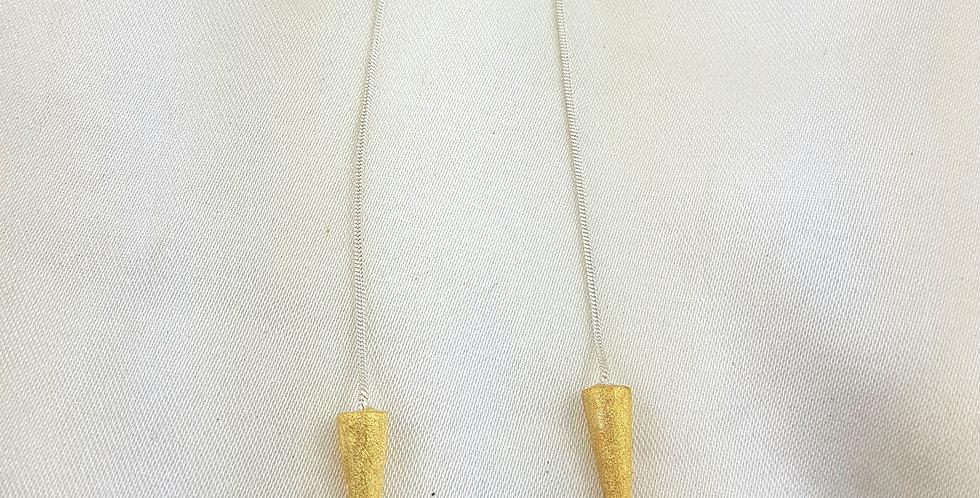 Gold & sterling silver spike earrings