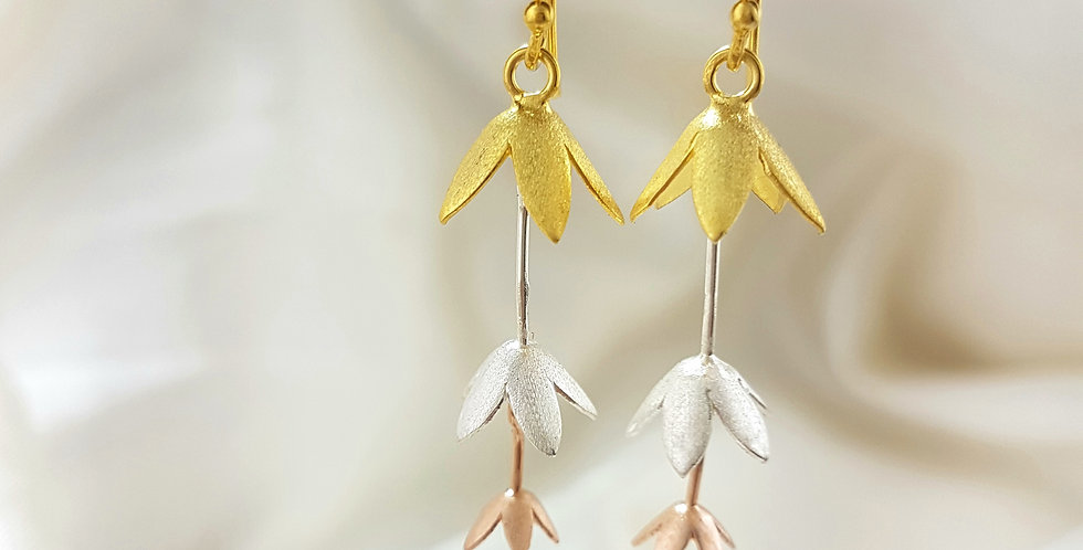 Gold, rose gold & sterling silver tiered blossom earrings