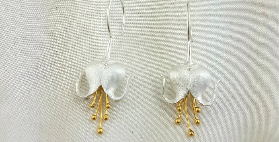Gold & sterling silver pressed lily earrings