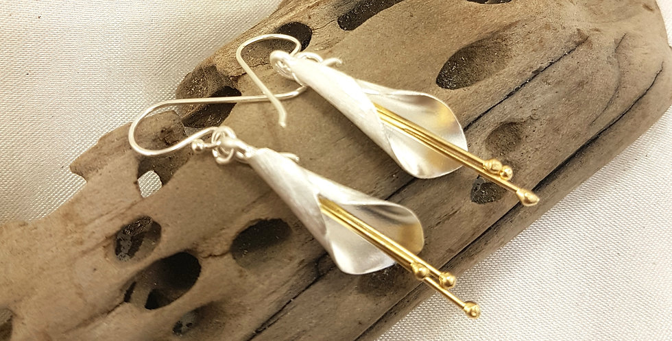 Gold & sterling silver lily earrings