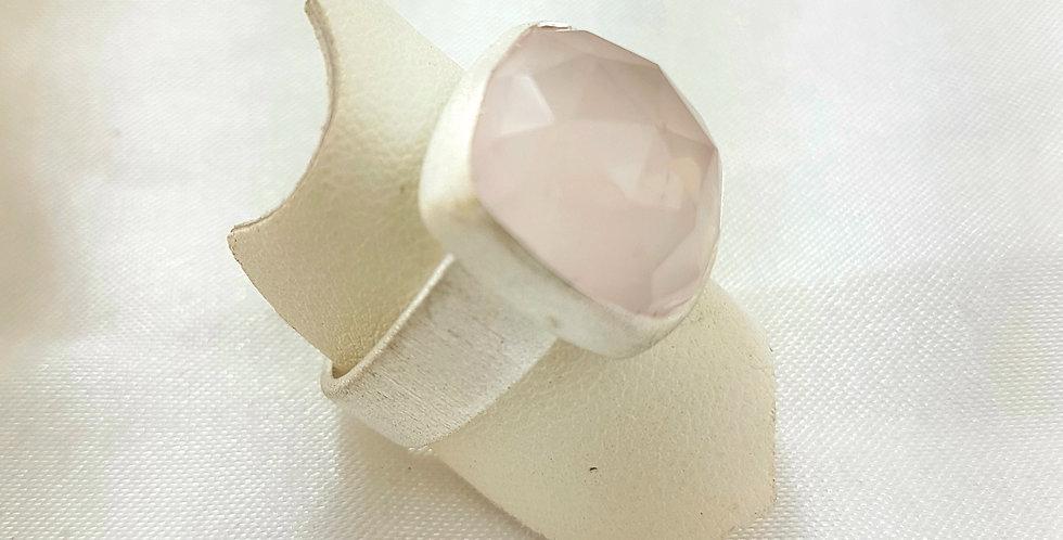 Faceted rose quartz & brushed silver ring