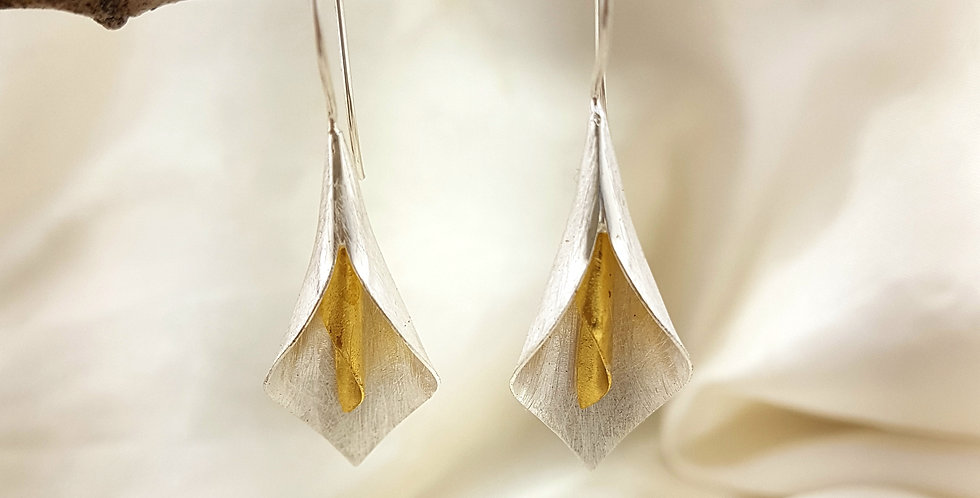 Gold & sterling silver twirl earrings