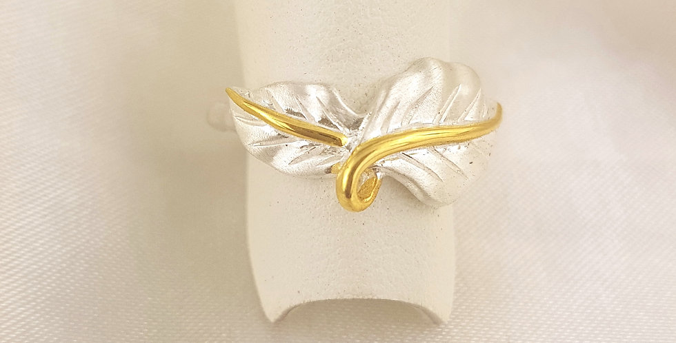 Gold & sterling silver twisted leaf ring