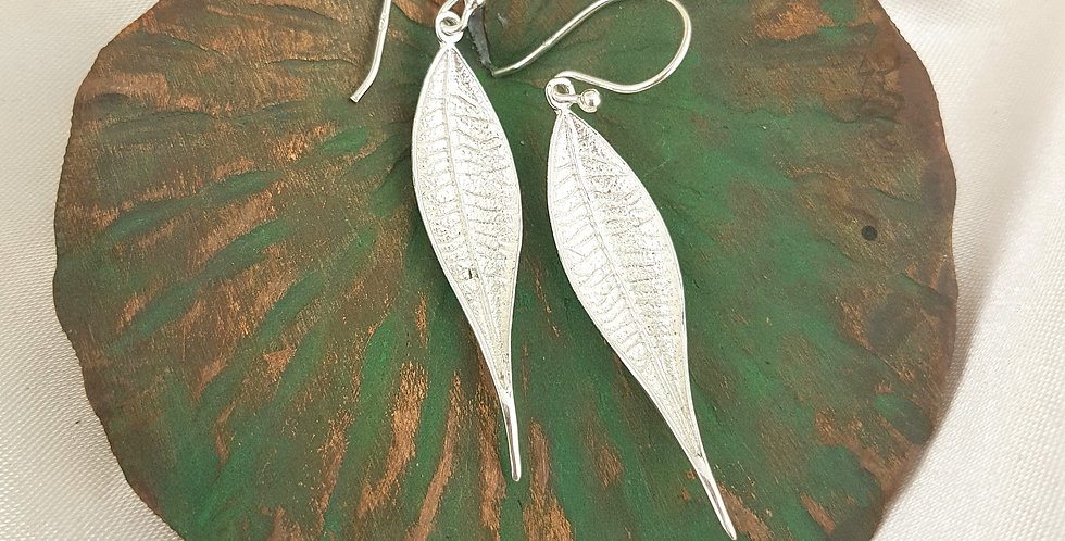 Sterling silver long & slender leaf earrings