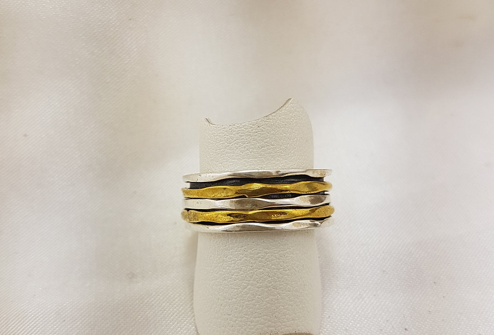 Banded gold and sterling silver meditation rings