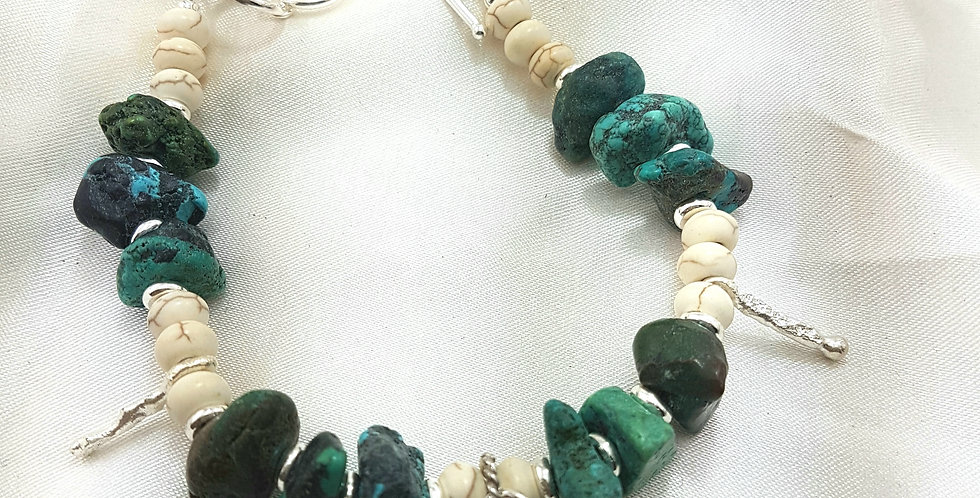 Rough Turquoise/Sterling silver bracelet