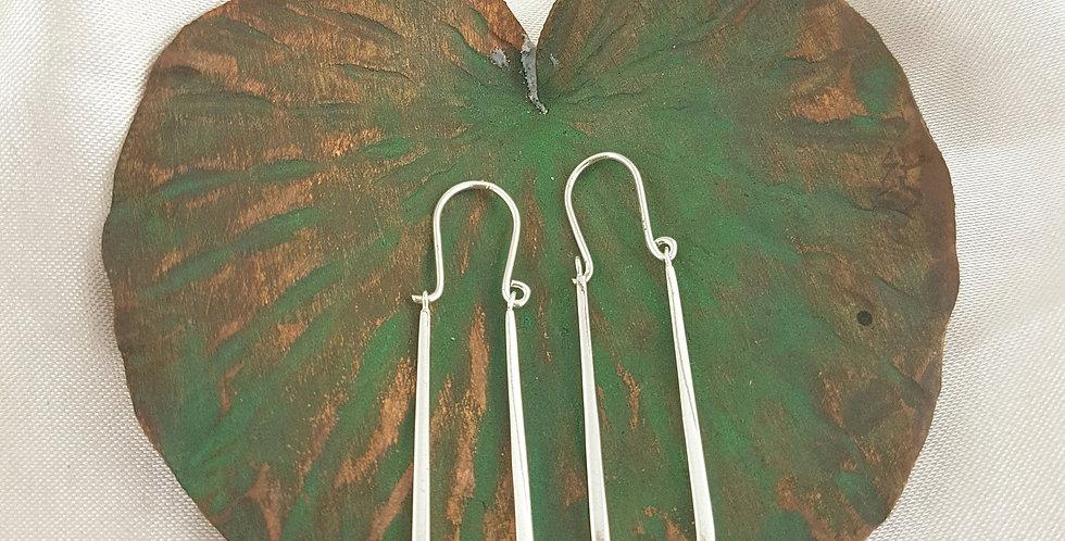 Sterling silver long hoop earrings