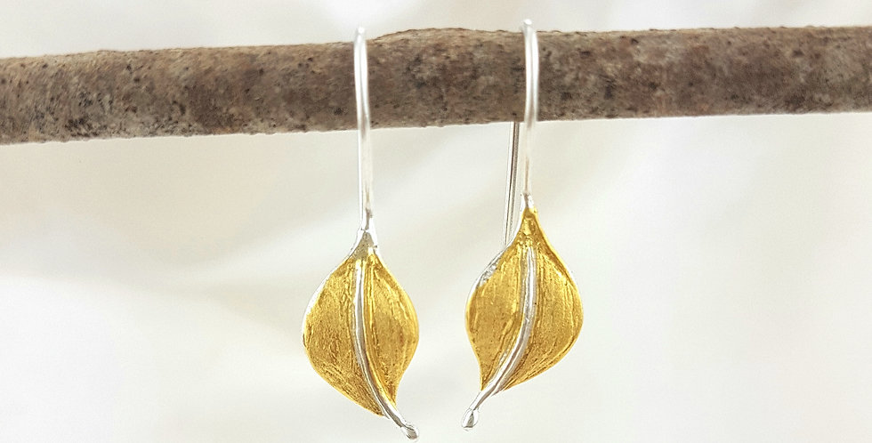 Brushed gold & sterling silver curled leaf earrings
