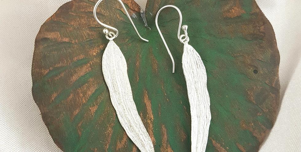 Sterling silver gum leaf earrings