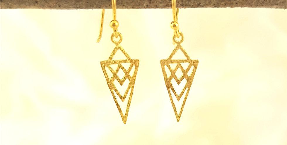 Gold tribal triangle earrings