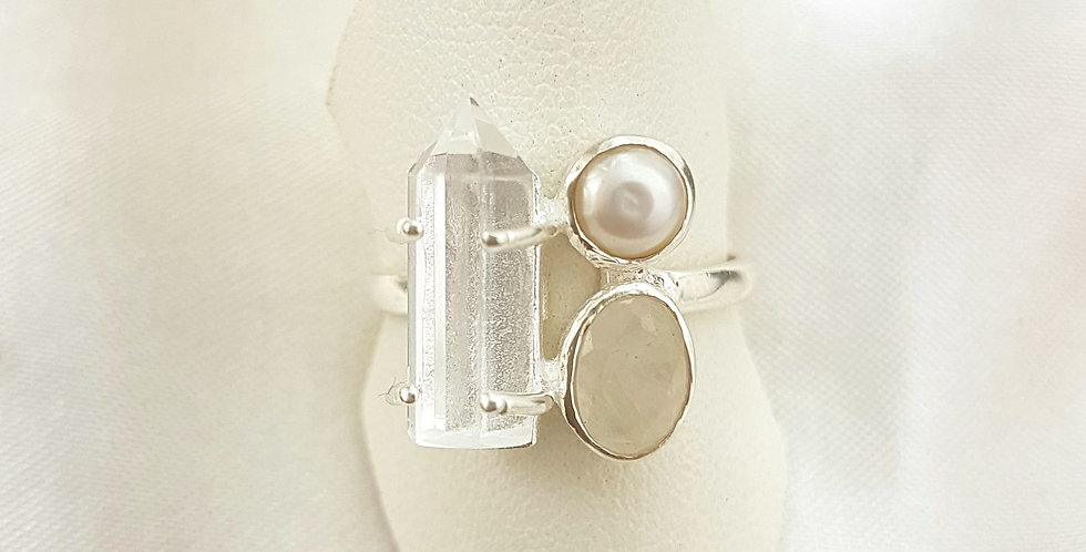 Sterling Silver Quartz and Pearl Gemstone Ring