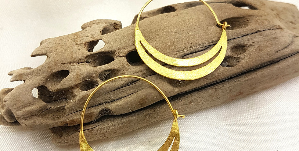 Brushed gold double moon earrings