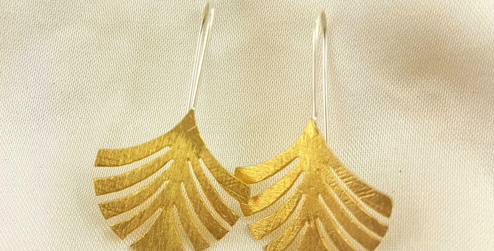 Brushed gold palm frond earrings