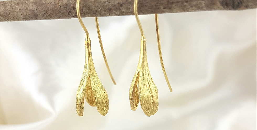 Gold seed pod earrings