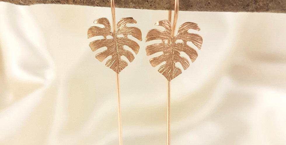 Rose gold  hanging monstera leaf earrings