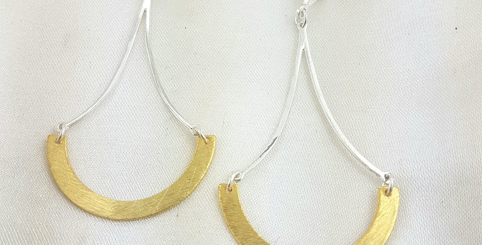 Gold & sterling silver contemporary earrings