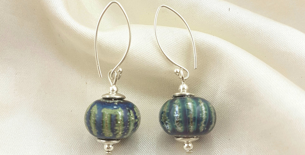 Silver mutlicolour stripe earrings