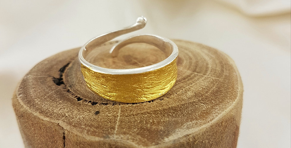 Brushed gold & sterling silver adjustable ring