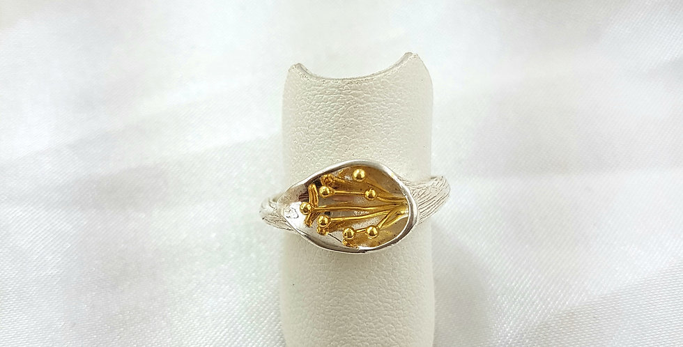 Gold & sterling silver liIly ring