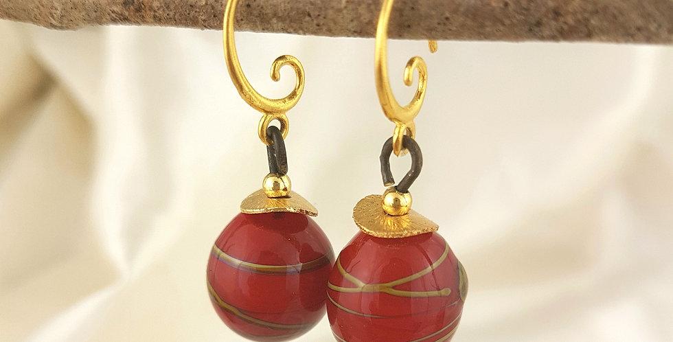 Red orb earrings