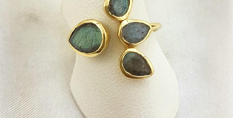 Labradorite and Gold ring