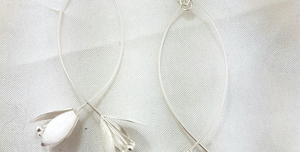 Sterling silver opposing flower earrings