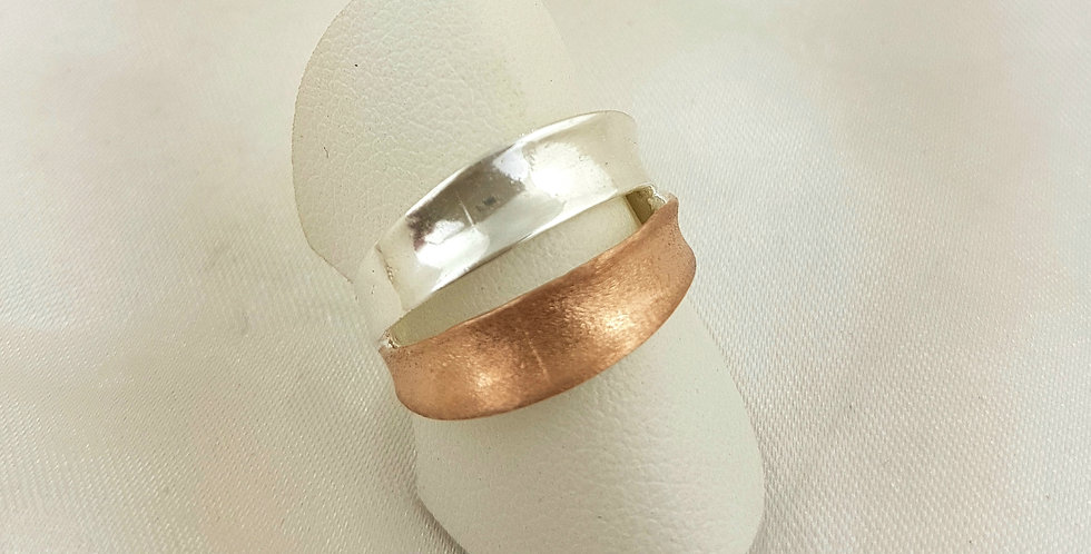 Rose gold & sterling silver double band ring