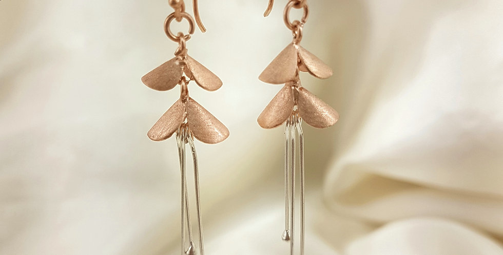 Rose gold & sterling silver double petal earrings