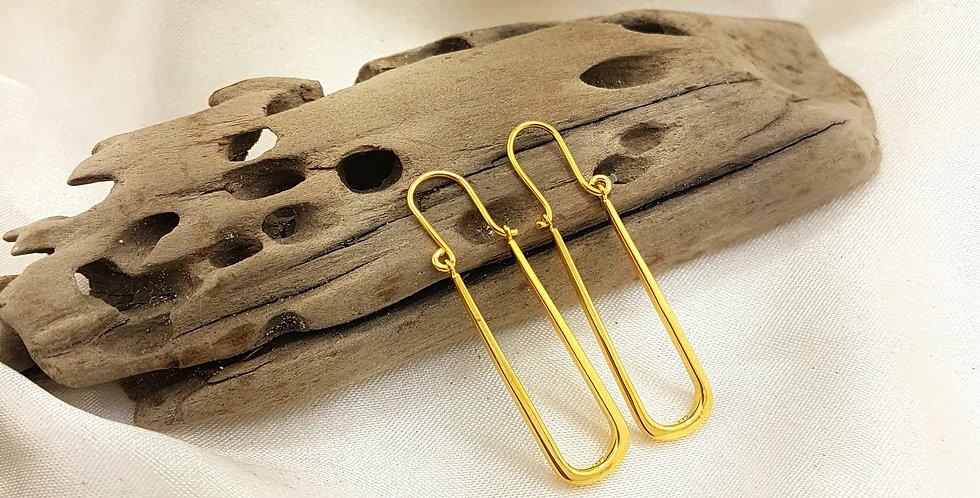 Gold long rectangle earrings