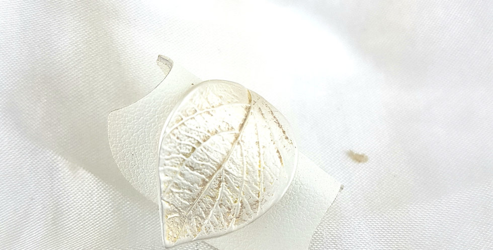 Sterling silver big leaf ring