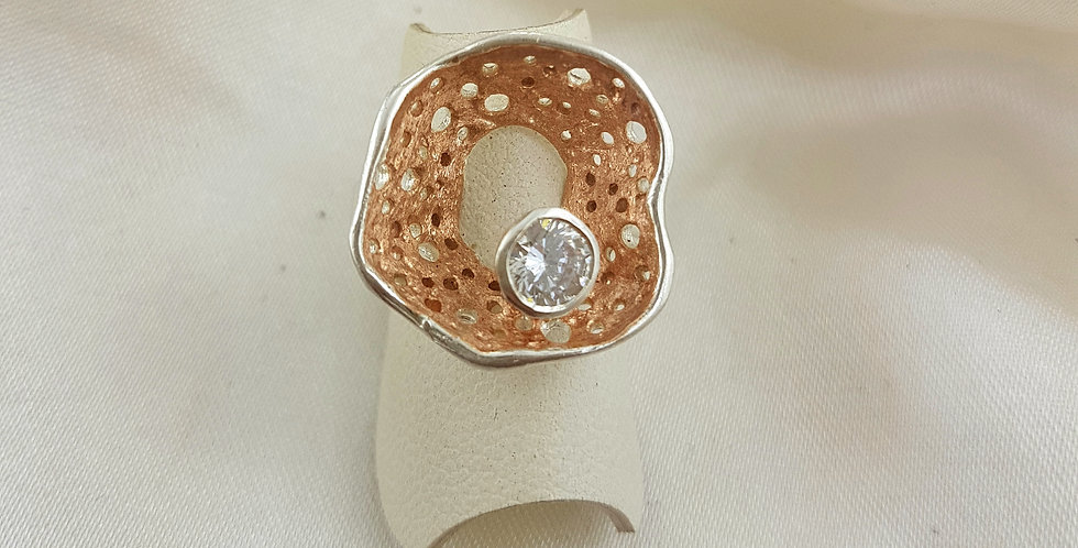 Rose gold, sterling silver & diamond sparkle ring