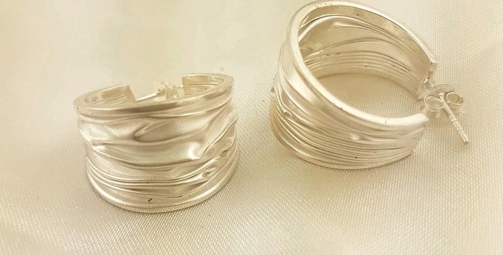 Sterling silver wave cuff earrings