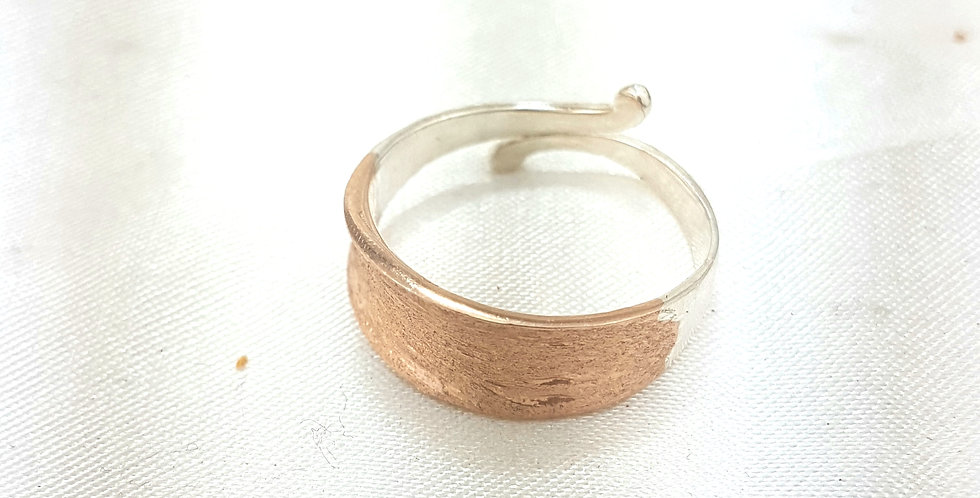 Rose gold and Sterling silver open curl ring