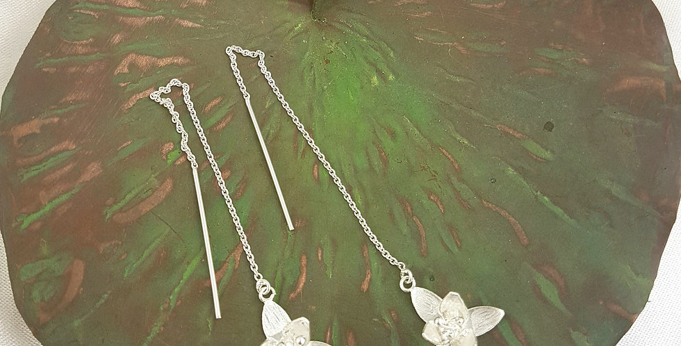 Sterling silver orchid threader earrings