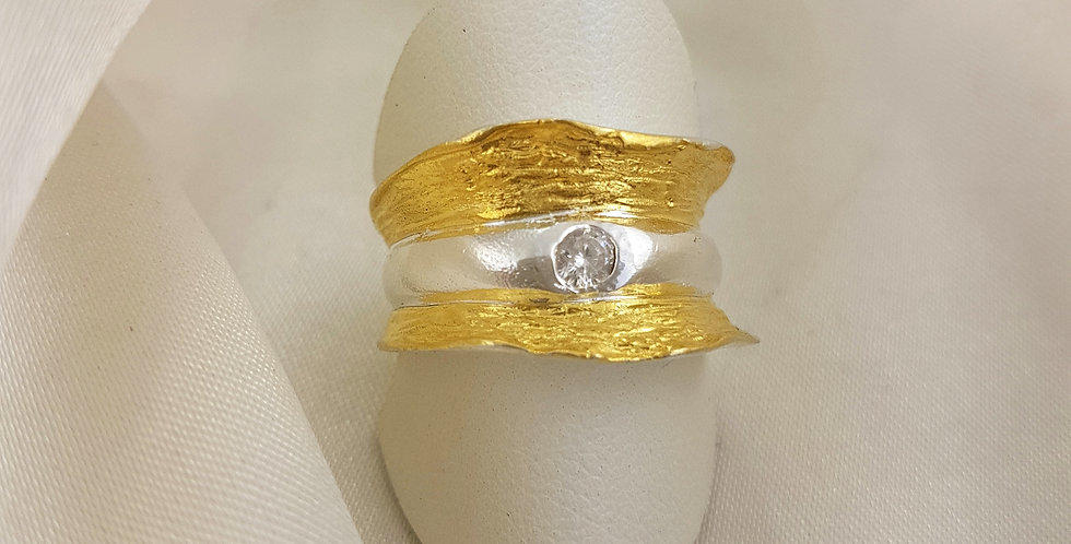 Brushed gold, sterling silver & Herkimer diamond ring