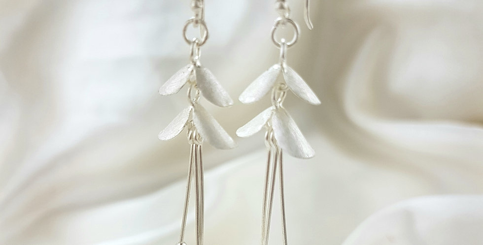 Sterling silver double petal drop earrings