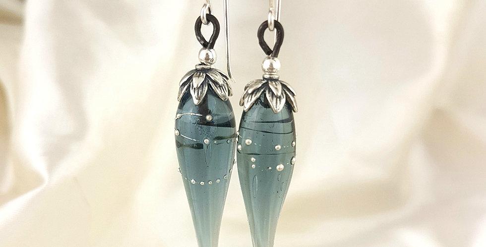 Steel blue Glass drop earrings