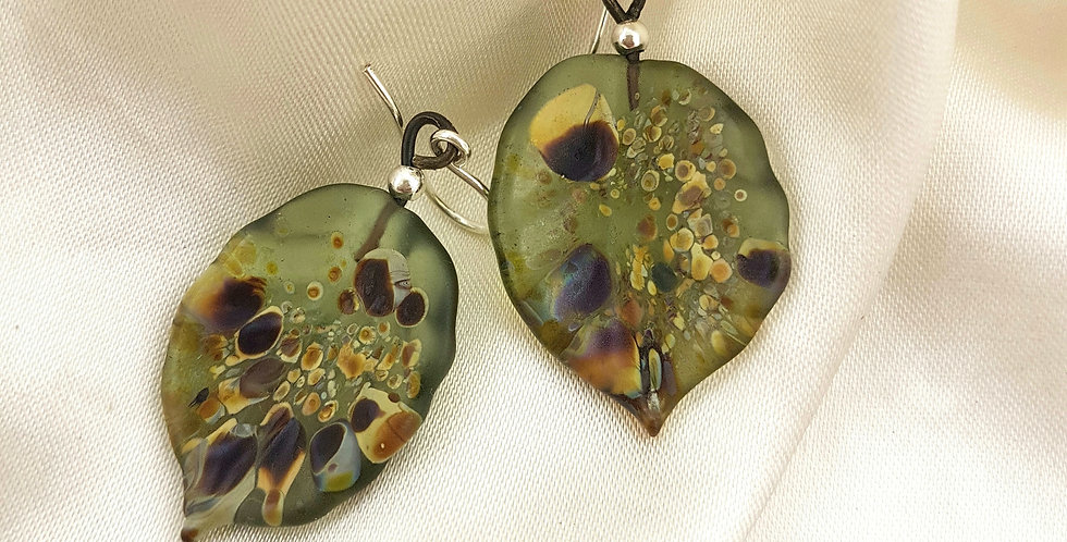 Glass autumn leaf earrings