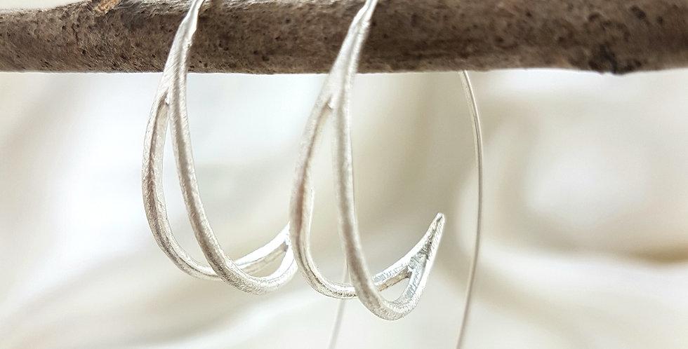 Sterling silver scoop circles earrings