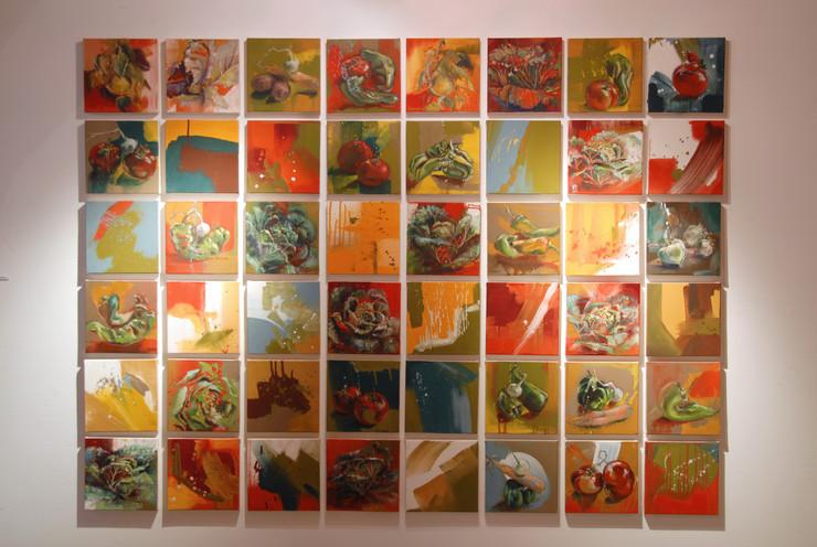 Composition de 48 petits format de 20 x 20 cm
