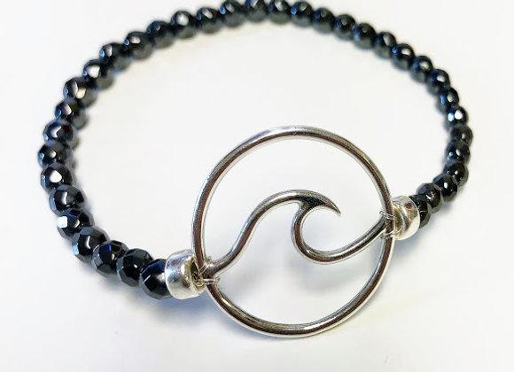 Sterling Silver Wave Hematite Bracelet
