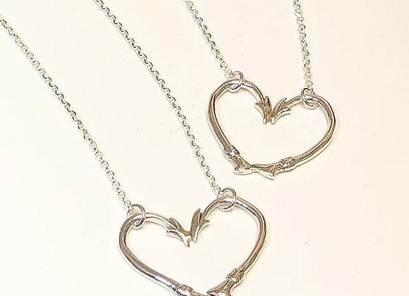 Sterling Silver Hook Heart Necklace