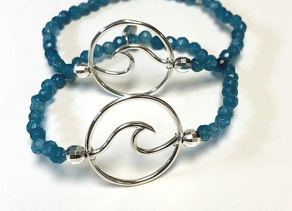 Sterling Silver Wave Gemstone Bracelet