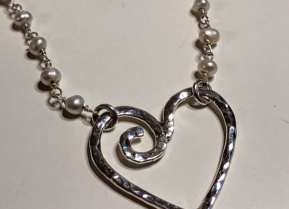 Sterling Silver Wave Heart Neacklace