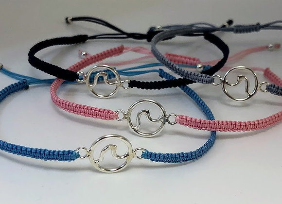 Sterling Silver Wave Cord Bracelet