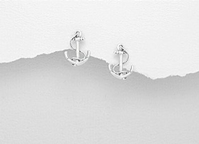 Sterling Silver Anchor Earring