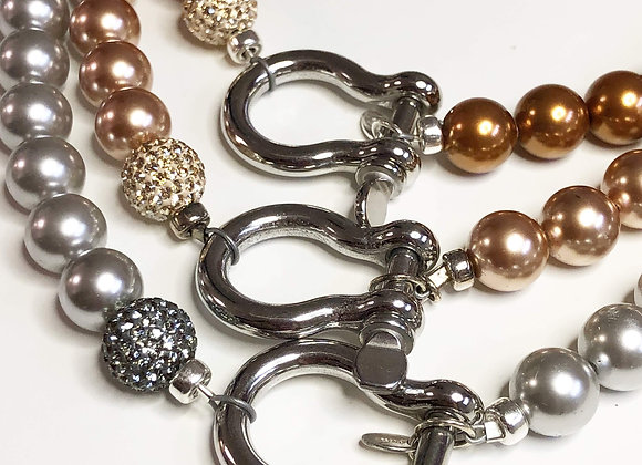 Nautical Shackle Pearl Necklace