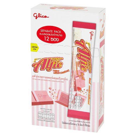 กูลิโกะ แอลฟี่ ทูโทน ขนมหวานรสนมและกลิ่นสตรอเบอร์รี่ 15กรัม x 12 ซอง