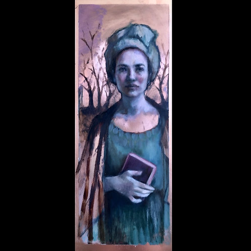 Shirley/On reading Brontë in the woods. Oil on copper, 20x50 cm.