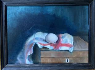 Egg on Kitchen Towel/Ägg på kökshandduk